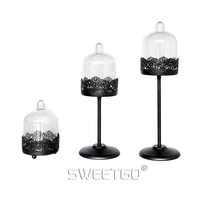 1 Pcs Black Mini Iron Wedding Party Decoration Cake Stands Dessert Fruit Cakecup Plate Pan With PC Cover #1511250