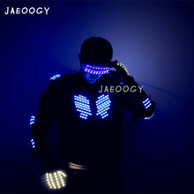 2019 New ree Shipping Blue LED Illuminated Robot Clothes Halloween Party Party Fluorescent Glasses Gloves Lights Dancing Props цена и фото