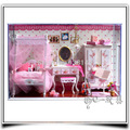 T004 Miniature girl's bedroom fully furnished diy dollhouse led lights doll house wooden