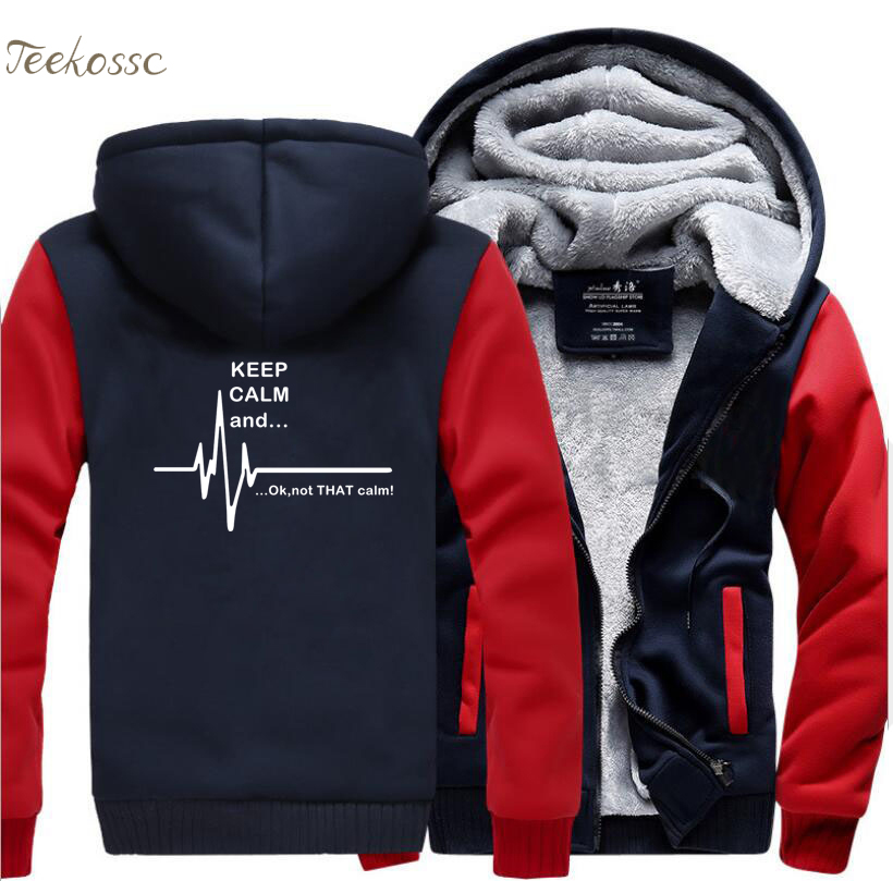 Keep Calm And...Not That Calm Ekg Heart Rate Hoodie Men Funny Sweatshirts Winter Zipper Hooded Thick Hoodies Jackets Coat Hombre