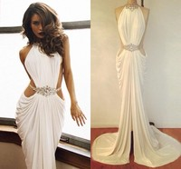 Hot Sale Trumpet Mermaid High Neck Evening Dress Beaded Rhinestone White Prom Dresses 2015 Ruffles Sexy