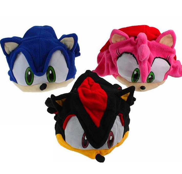 3 colors Sonic Hat for select Free Shipping FS Sonic The Hedgehog Fleece Cap Beanie Hat Plush Hat Cap Anime Cosplay sonic the hedgehog cosplay costume blue sun hat baseball net cap headwear gift