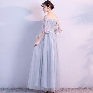 Image 5 - 섹시 플러스 사이즈 여성 우아한 더스티 블루 그레이 핑크 창백한 자주색 레이스 게스트 웨딩 파티 주니어 긴 들러리 드레스 vestidos 79