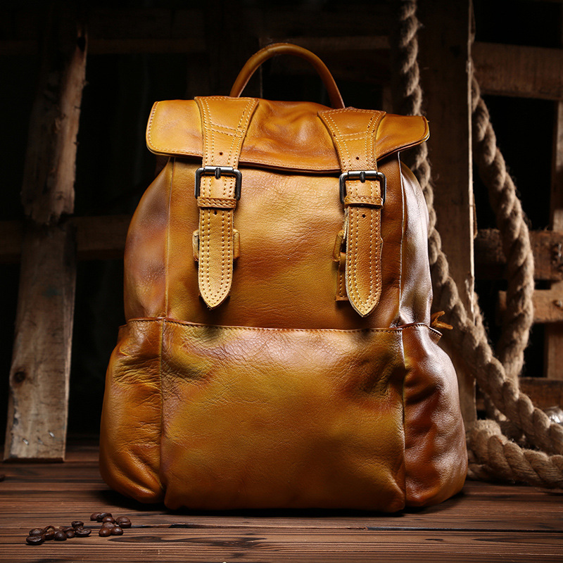 New Fashion Women's Bag Yellow Brown Casual Leather Shoulder Bag Korean Fashion Cowhide Backpack