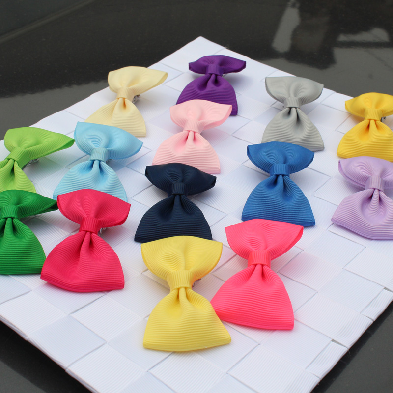 fashion girl solid mini hair ribbon bows hairclip accessories   headwear   hairgrip barrettes hair accessories hot sale hair clips