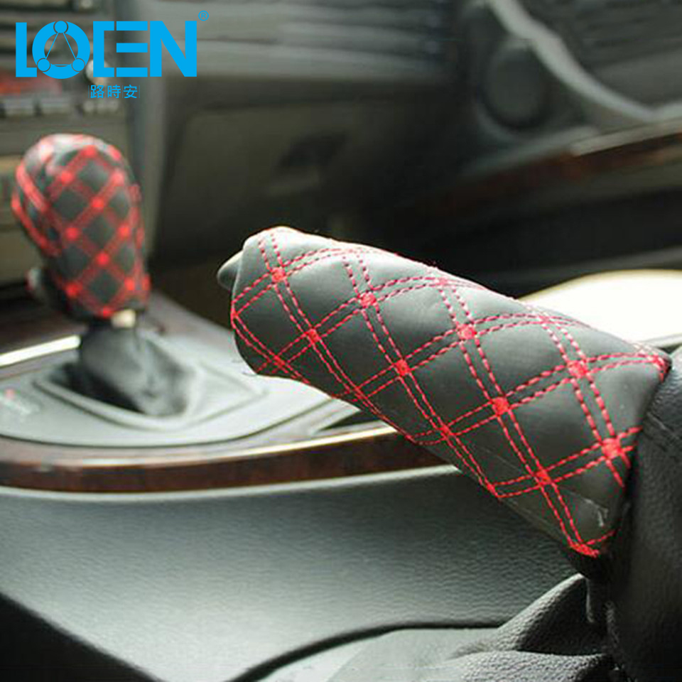 LOEN 1 set Gear Shift Collars Hand-Held Universal PU Leather Hand Brake Covers For Car Decoration Interior Accessories Dustproof