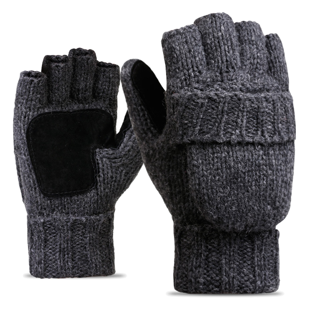 Women Men Knitted Flip Mitten Flocking Warm Knitted Fingerless Glove Random Boys Gloves Winter Warm Teen Gloves Children Knitted
