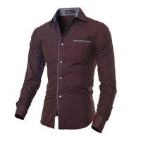 New Autumn Fashion 2018 Brand Men Clothes Slim Men Long Sleeve Shirt Men Pure Color Cotton