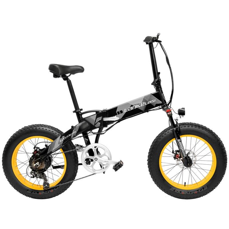 X2000 20 Pouces vélo électrique pliant 7 Vitesse Moto Neige 48 V 12.8Ah 500 W Moteur armature en alliage d'aluminium 5 PAS VTT