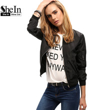 SheIn Womens Autumn Style Outerwear Tops New Arrival Ladies Fashion Stand Collar Long Sleeve Zipper Crop Jacket