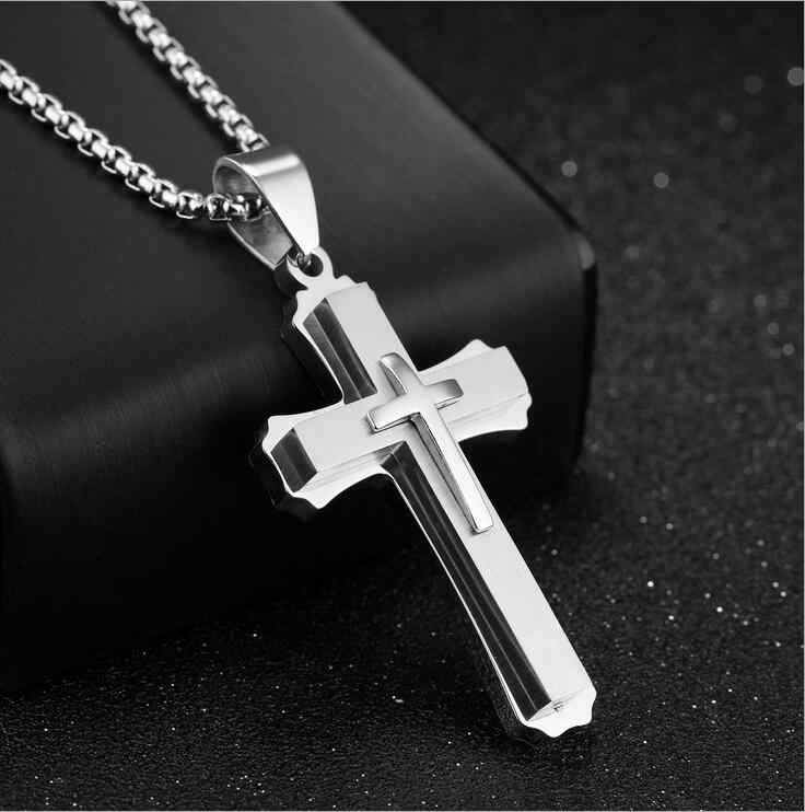 Vintage Fashion Jewelry Stainless Steel Chain 3 Layer Knight Cross Silver Gold Black Color Men women Necklace Pendant  GifT