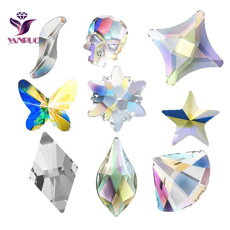 42d8239858 US $2.16 24% OFF|YANRUO 36pcs Strass Stones Skull Butterfly Flatback  Rhinestones For Needlework Sewing Decor On Phone Nail Crystals DIY  Diamond-in ...