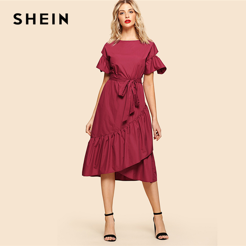 SHEIN Burgundy Elegant Overlap Ruffle Hem Flounce Sleeve Round Neck Knot Front Belted Dress Summer Women Weekend Casual Dresses
