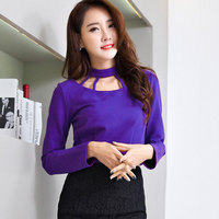 Office Ladies Sexy Hollow Out Hanging Neck Purple Short T Shirts Women Crop Tops Back Zipper