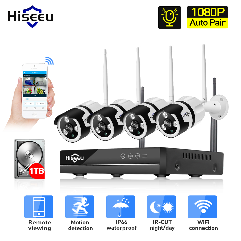 1080P 4CH Wireless NVR CCTV System audio wifi 2.0MP Outdoor Bullet IP Camera Waterproof Security Video Surveillance Kit hiseeu