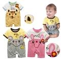 Roupas de Bebê de algodão Infantil Do Bebê Bonito Macacão de Manga Curta Jumpsuits Bebê Dos Desenhos Animados Trajes de Verão Para Bebê Recém-nascido