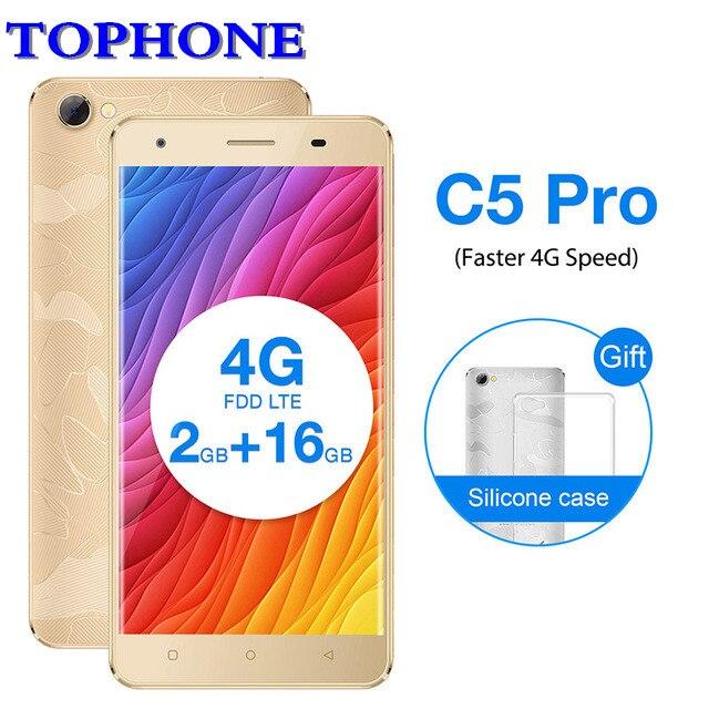 2017 Oukitel C5 Pro 5.0 HD Mobile téléphone Android 7.0 MTK6737 Quad Core téléphone portable 2 gb RAM 16 gb ROM 8MP 4g LTE 2000 mah smartphone