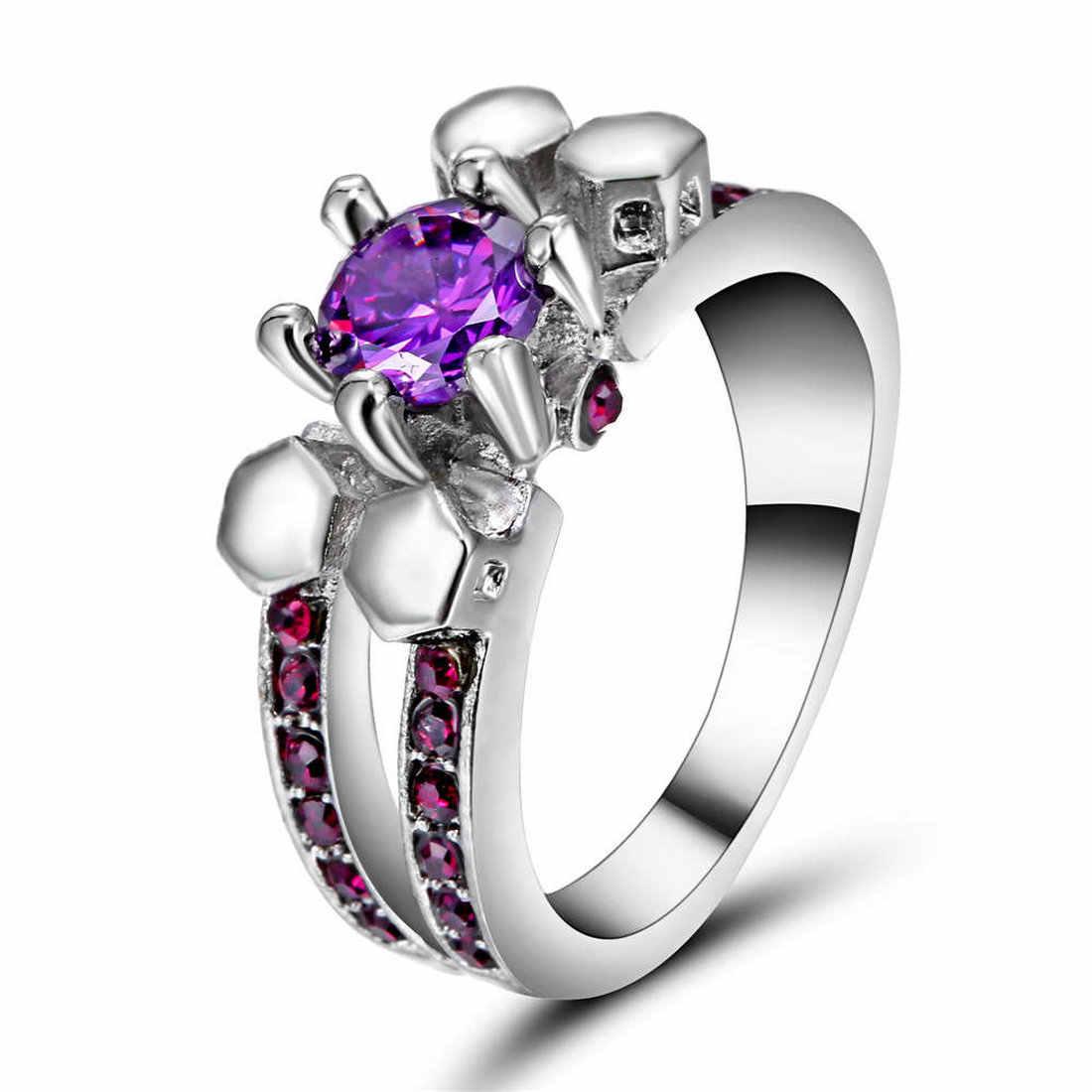 ใหม่แฟชั่นผู้หญิงแหวนคริสตัลสีม่วง Black Gold Gold Filled สี Zircon คริสตัลหมั้นแหวนขนาด 7