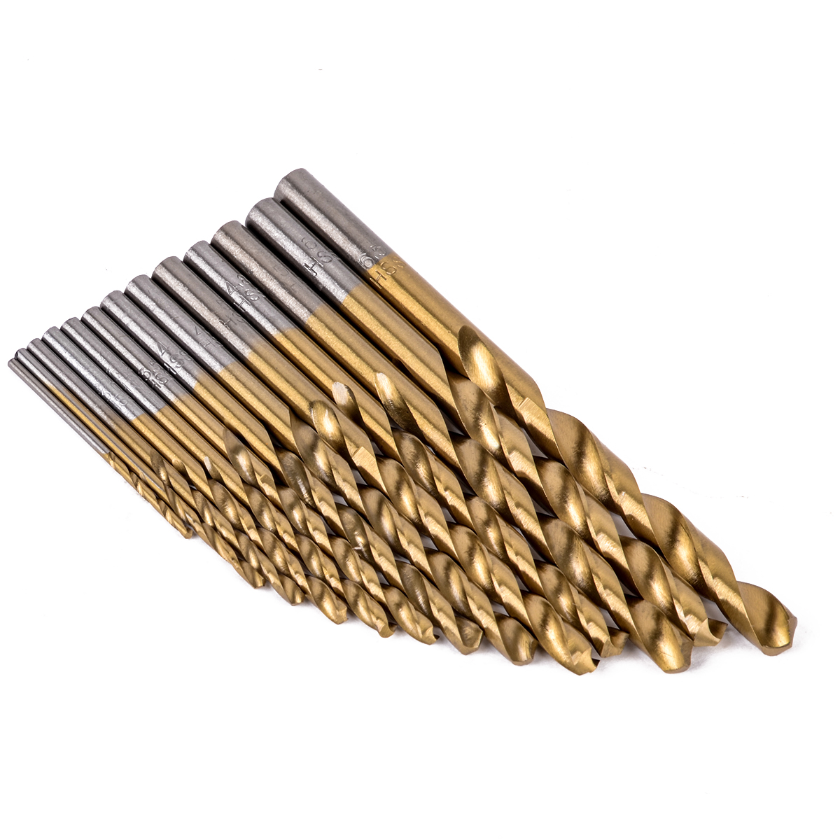 13pcs High Speed Steel HSS Drill Bits Set Titanium Coated Woodworking Tools 1.5-6.5mm Mayitr