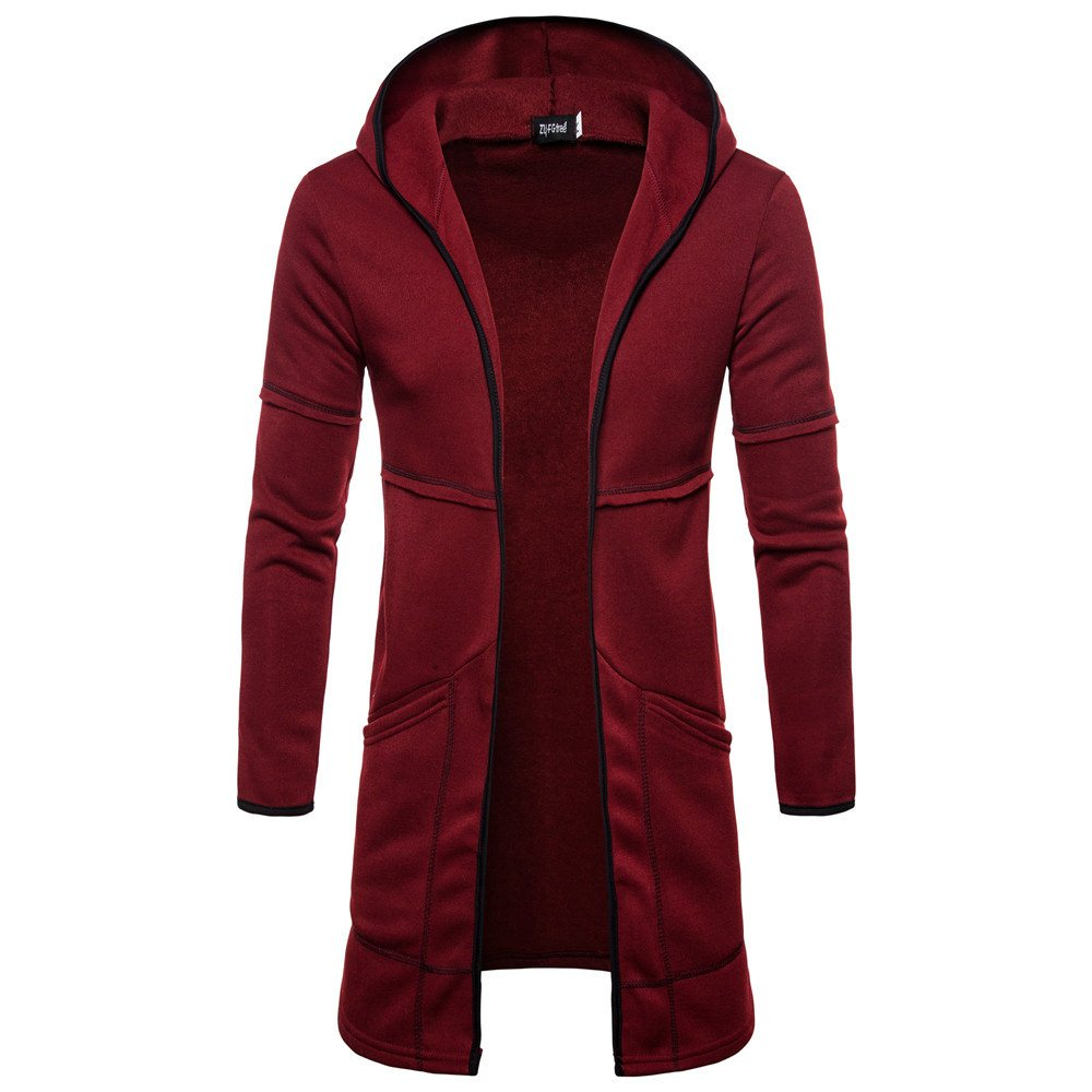 Sweater Cardigan Pocket-Clothes Men's Fashion Windproof Hooded Long Casual Size-Top-Coat