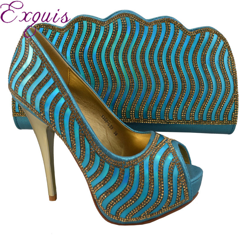 ФОТО Fashion Italy design shoes and bag set with Sequin for lady party and wedding 1308-L33,Size 38-42 sky blue
