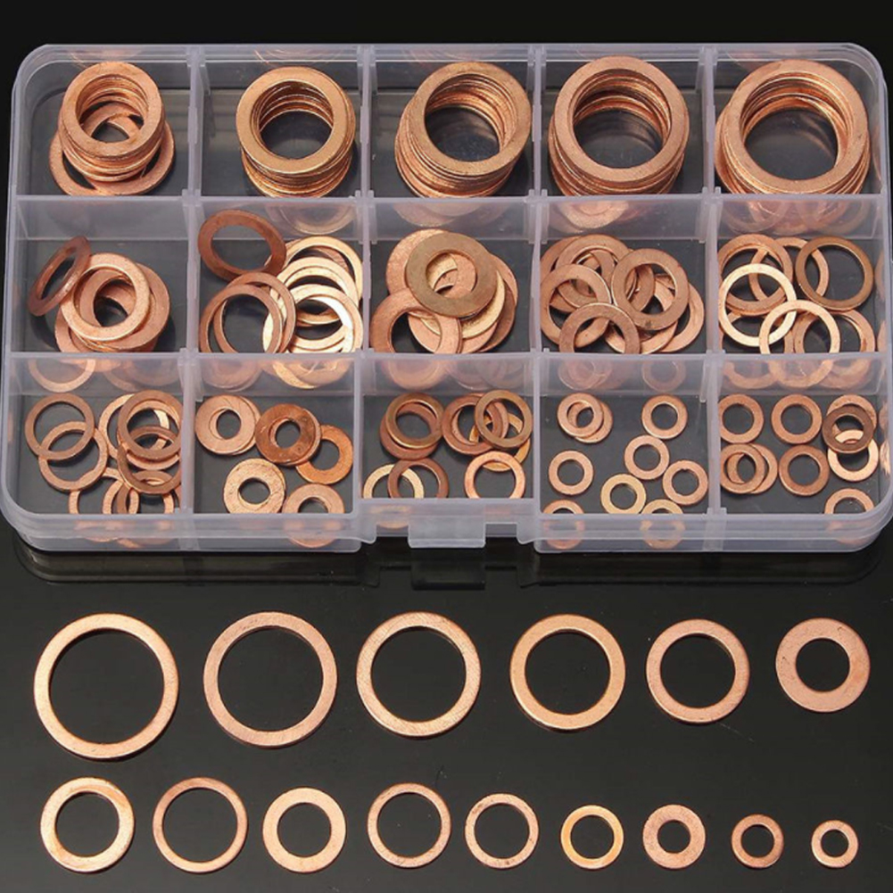 150pcs Solid Copper Washers Sump Plug Assorted Washer Set Gasket 15 Sizes Electrical Sealing Auto Ring Thermal Conductivity +Box ...