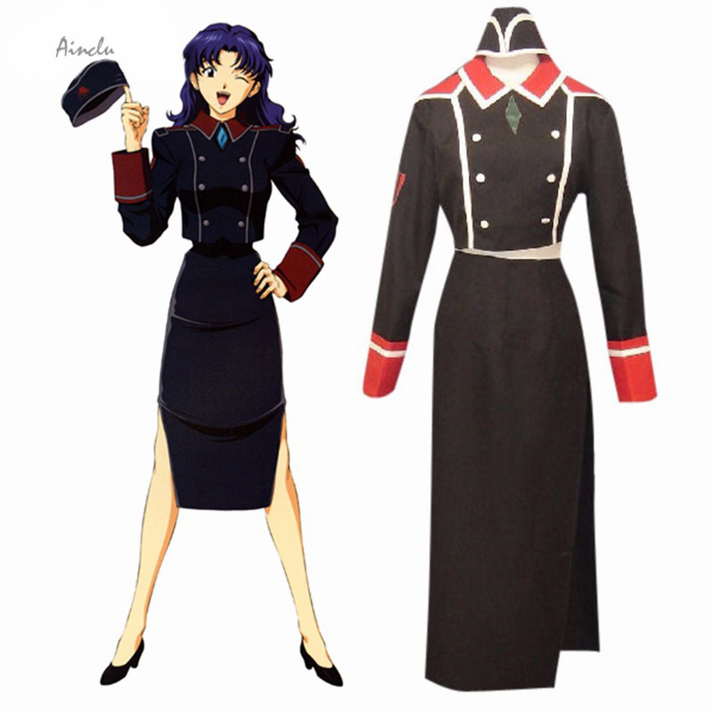 Ainclu Free Shipping Neon Genesis Evangelion Katsuragi Misato Uniform Cosplay Costume Anime Costume For Halloween Christmas