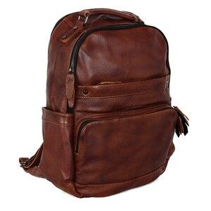 Image 5 - Mochila de cuero de vaca de primera capa para hombre, bolso para ordenador portátil, sencilla, salvaje, a la moda, 15,6