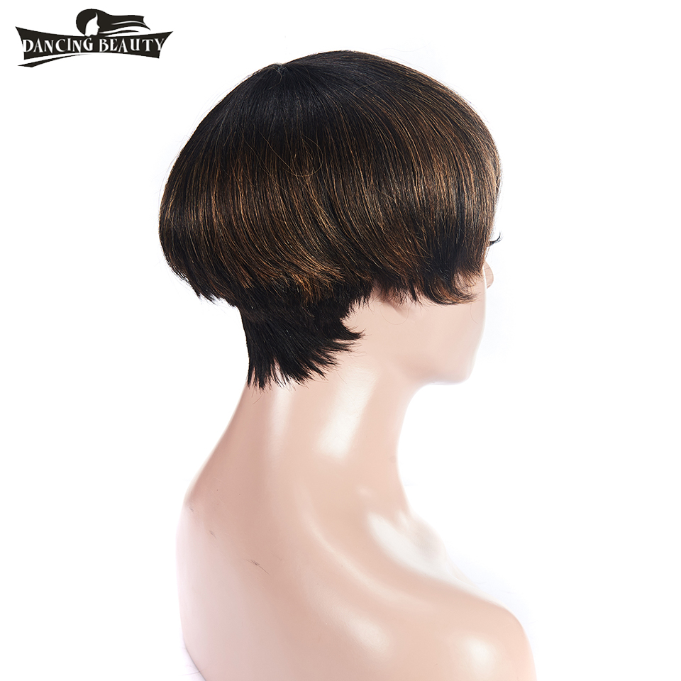 DANCING BEAUTY Pre-Colored Straight Hair Wigs Brazialian Short Front Human Hair Wigs With Baby Hair Non Remy Hair Color 1B30