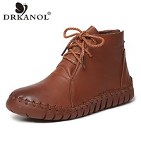 DRKANOL Autumn Winter Flat Ankle Boots Women Casual Shoes Handmade Sewing Soft Genuine Leather Classic Retro