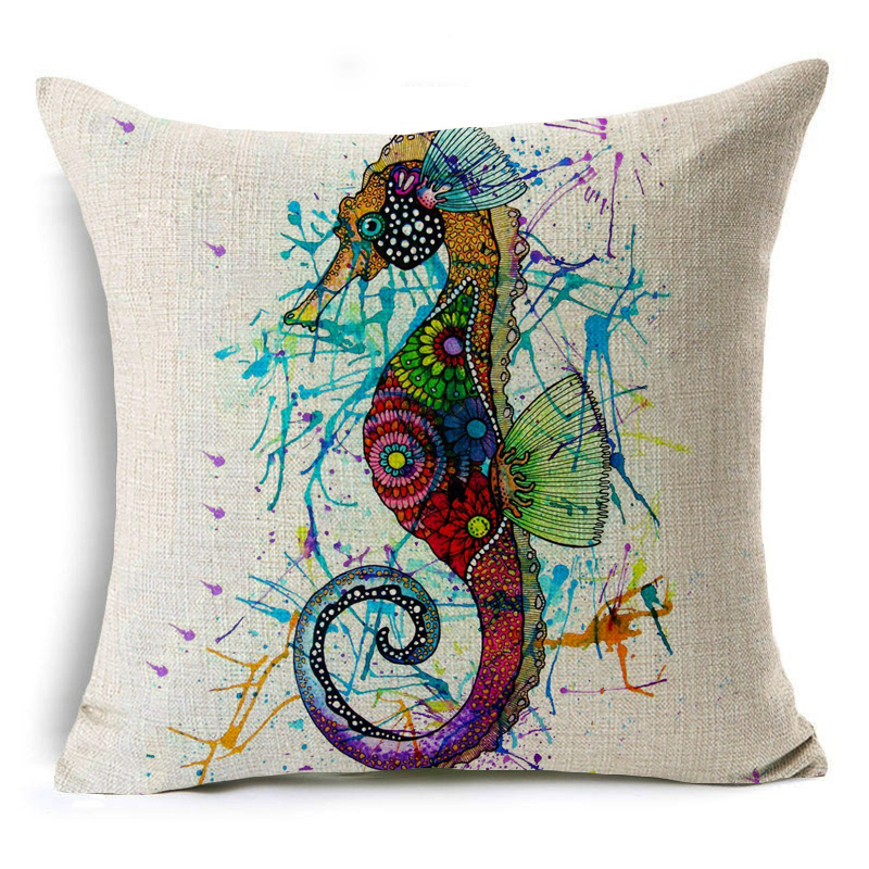 Ocean Animals Hippocampus Starfish Shell Pattern Throw Pillow Case Couch Linen Cotton Pillow Cover Cushion Cover Home Decor