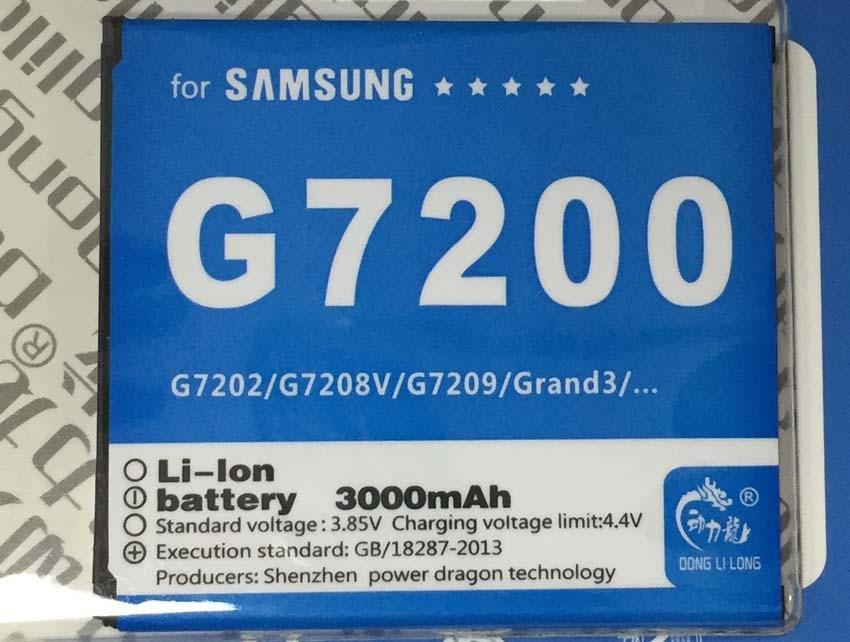 imágenes para Batería para galaxy grand max g7200 g7208v g7202 g7209 eb-bg720cbc batería 2500 mah donglilong ebbg720cbc grand3