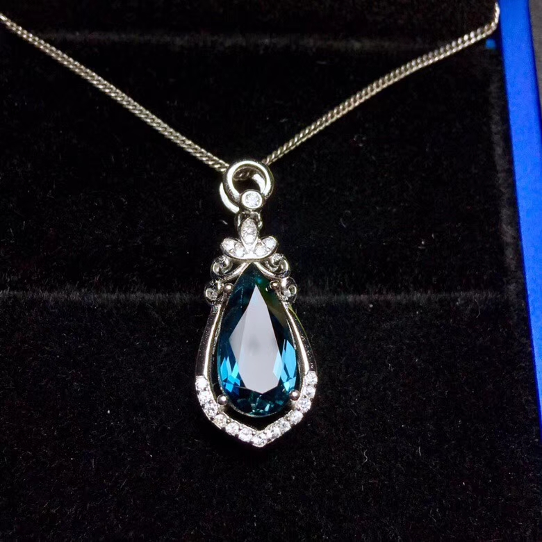 natural blue topaz gem pendant S925 silver Natural gemstone Pendant Necklace trendy Lovely Retro Water drop women gift jewelry цена 2017