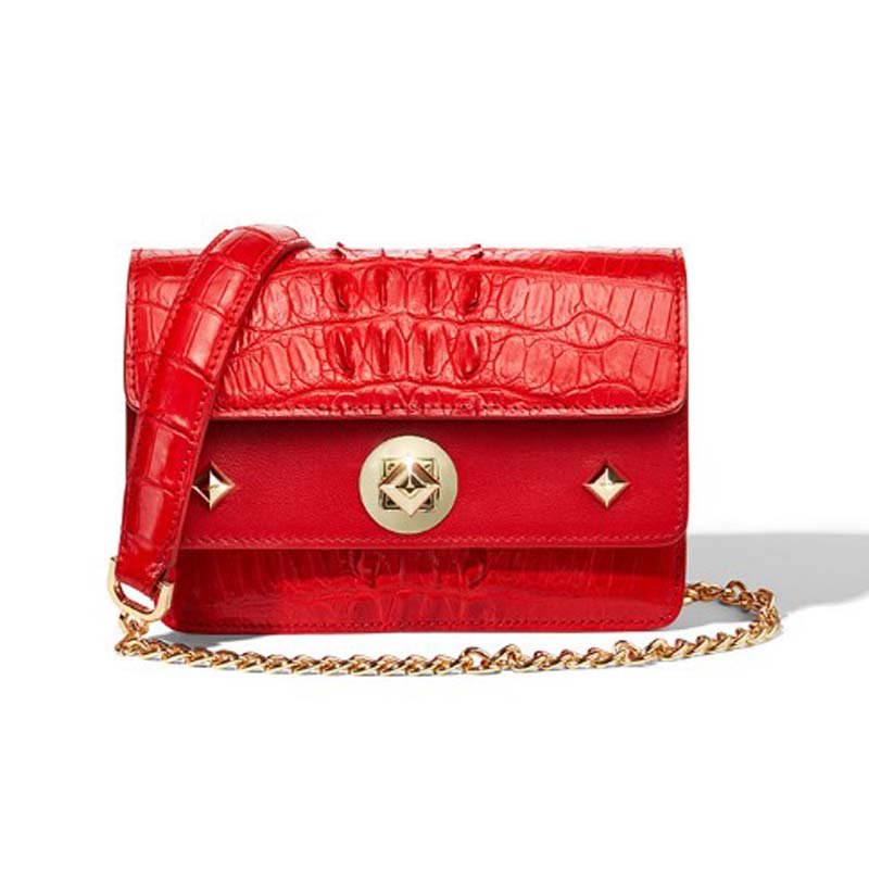 gete 2019 new Imported crocodile leather lady bag leisure fashion crossbody bag lady 2018 new leather chain small square bag