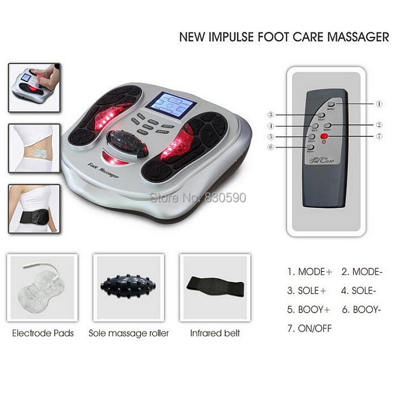 Infrared & Ion Physical Magnetism Therapy Health Protection Detox Foot Massager Machine With pulse pads and infrared belt yibuy 87x37x19mm black yellow copper