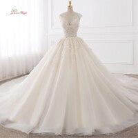 Dream Angel Vestido De Noiva Sexy Backless A Line Wedding Dresses 2018 Appliques Lace Royal Train Tulle Bride Gowns Plus Size