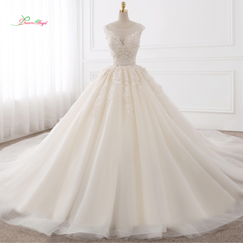Dream Angel Vestido De Noiva Sexy Backless A Line Wedding Dresses 2018 Appliques Lace Royal Train Tulle Bride Gowns Plus Size