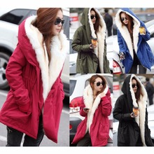 2016 Warm winter coat women long fur coat army green hooded parka women jackets fur lined windbreaker thick overcoat