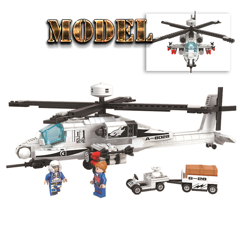 Finger Rock Technic Series Armed Apache Model Building Kits Blocks Airplane Bricks Boys Children Christmas Gift Educational Toys