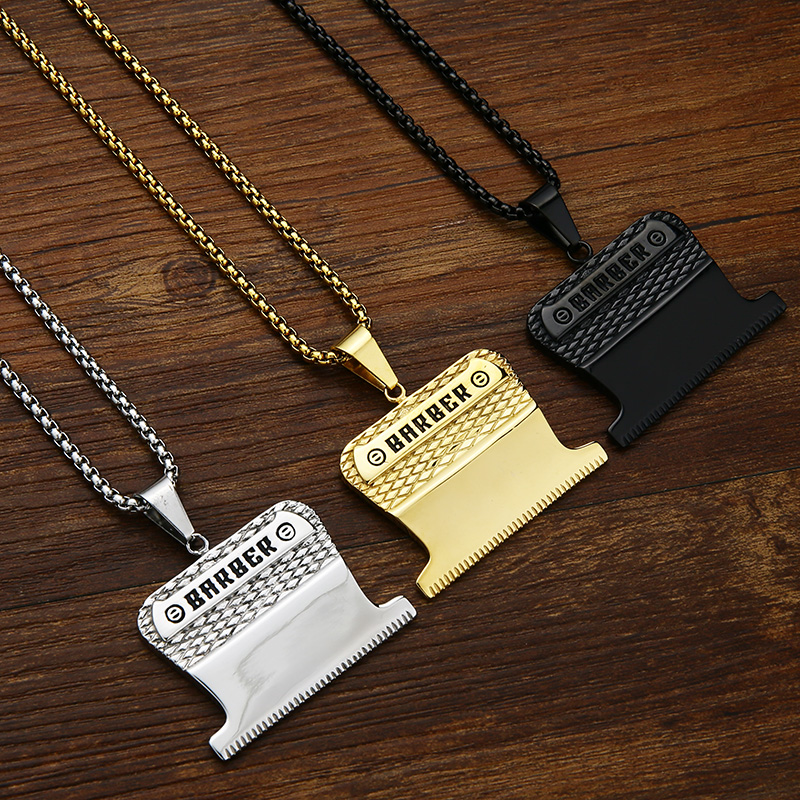 "Valily Jewelry Golden Barber Pendant&Necklace stainless steel Shiny Shaver Haircut Necklaces jewelry for Man Women,23"" Box Chain"