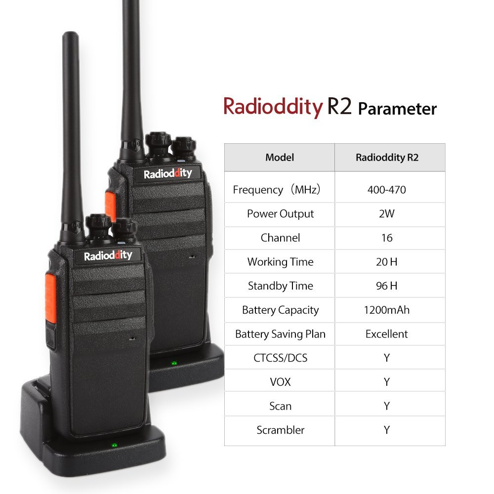 2 PCS Radioddity R2 Two-Way Radio UHF 400-470MHz 16 CH Scrambler VOX Rechargeable Long Range Transceiver Walkie Talkies Earpiece