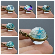 Handmade Ocean Jewelry Sphere Crystal Starfish Turtle Seashell Seahorse Dolphin Double Side Glass Ball Pendant Necklace