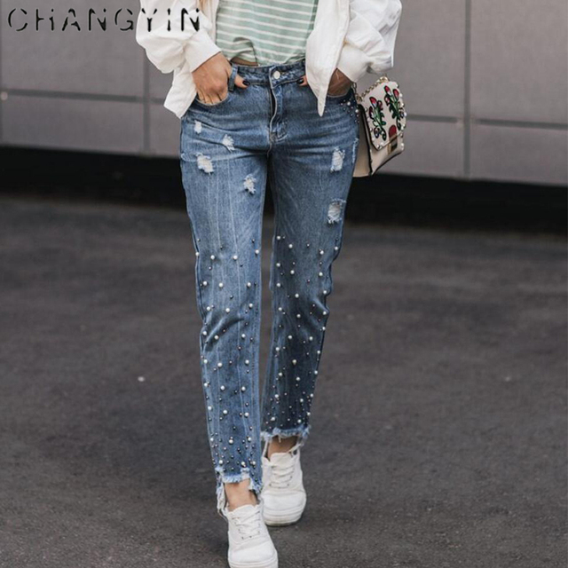 changyin frauen jeans perlen casual fashion solid farbe boyfriend jeans nagel perlen decorat. Black Bedroom Furniture Sets. Home Design Ideas