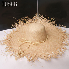 2019 Newest Summer Wide Brim Raffia Straw Hats Woven Circle Fringe Beach Cap Sum Protaction  Jazz Straw Hat Bohemia Seaside Cap