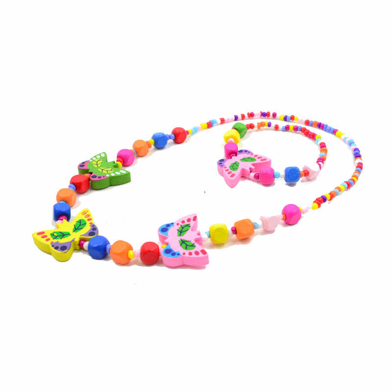 Children Jewelry Sets For Girls Butterfly Cute Multi Colored Wooden Bead Accessories Sets Necklace Bracelet Kids Party Fun Gifts