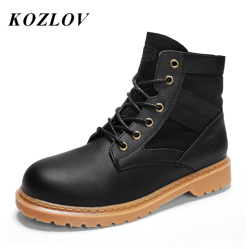17d50403430 US $21.48 42% OFF|KOZLOV Desert Tactical Military Ankle Boots Men Army  Hunting Trekking Camping Work Safety Boots Bot Winter Leather Casual  Shoes-in ...
