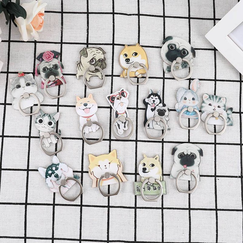 Bulldog Husky Animal Cat Mobile Phone Stand Holder Finger Ring Smartphone Cute Cat Holder Stand For Xiaomi Huawei All Phone