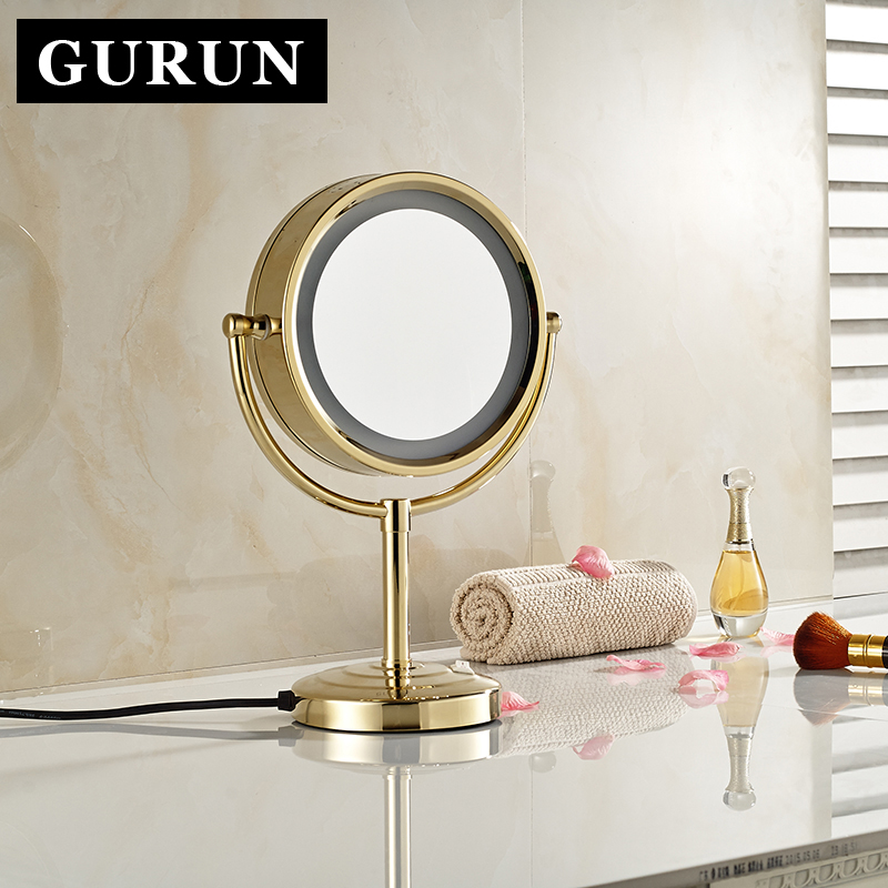 Gurun 10x Magnifying Mirror Foldable Makeup With Led Light 8.5 Doublr Side