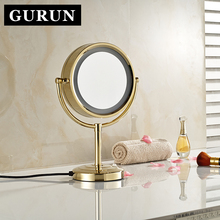 GuRun 10X Magnifying Mirror Foldable Makeup Mirror with LED Light 8.5 Inch Doublr Side Round Makeup Shave compact mirror blank