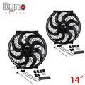 Dyno- 2Xset 14 inch Black 12V 90W Electric Universal Auto Cooling Radiator Fan Hot Rad Mounting Kit